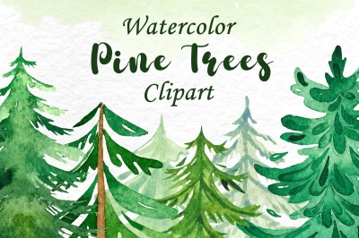 Watercolor Pine Trees Clipart, Christmas tree clipart