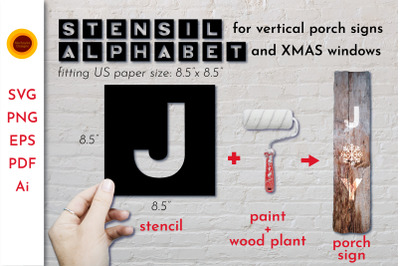 Stencil alphabet SVG for Vertical Porch Signs.