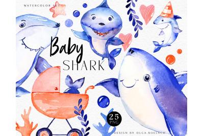 Watercolor baby shark clipart, Nautical baby shower diy, mama shark