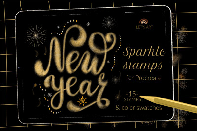 New Year sparkle fireworks brushes