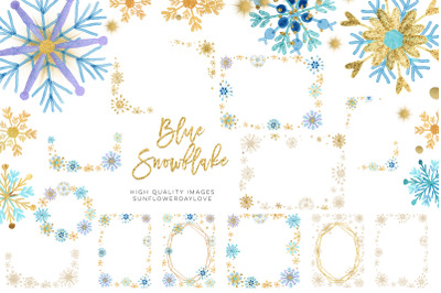 Blue Snowflake clipart, Snowflake Blue & Gold, Winter Snowflake