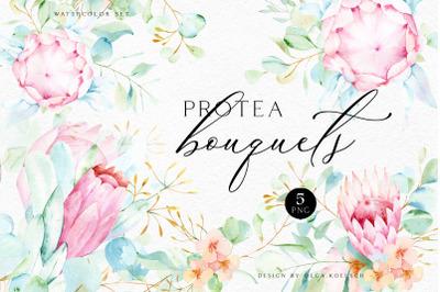 Watercolor pink floral protea with eucalyptus clipart, Tropical Weddin