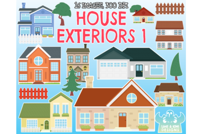House Exteriors 1 Clipart - Lime and Kiwi Designs