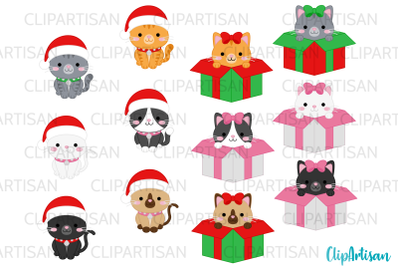 Christmas Cats Clipart Meowy Christmas kittens Kitty Cats