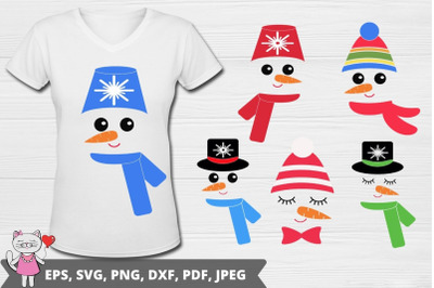 snowman face svg set