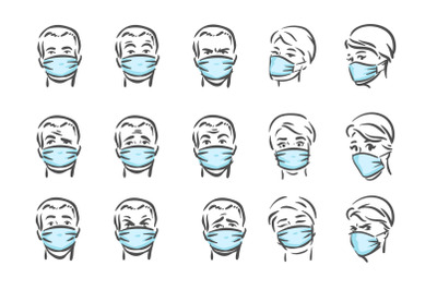 Faces with masks, pandemic, virus, COVID-19 theme