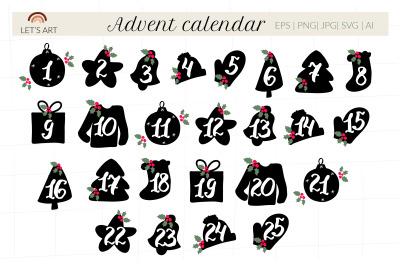 Advent calendar svg. Christmas doodle silhouette symbols