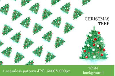 Christmas tree illustration + seamless pattern