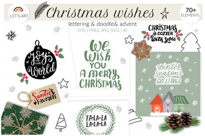 Christmas wishes svg, doodle xmas, lettering svg