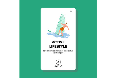 Active Lifestyle Windsurfing Extreme Sport Vector