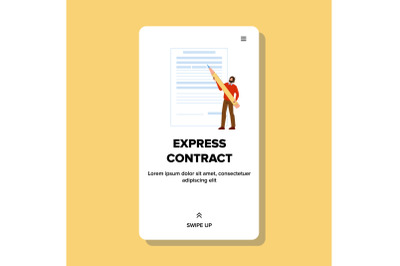 Express Contract Signing Young Businessman Vector