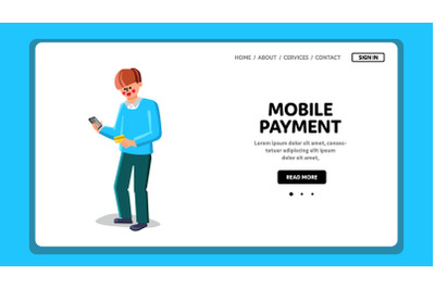 Online Mobile Payment Make Boy With Phone Vector