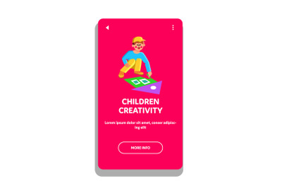 Children Creativity Draw With Color Chalk Vector