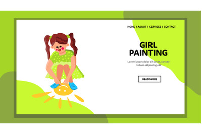 Girl Painting Sun With Chalk On Playground Vector