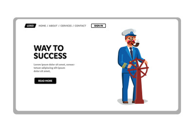 Captain Search And Leading Way To Success Vector