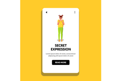 Secret Expression Woman Crossed Fingers Vector