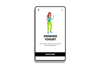 Woman Drinking Yogurt Tasty Dairy Product Vector