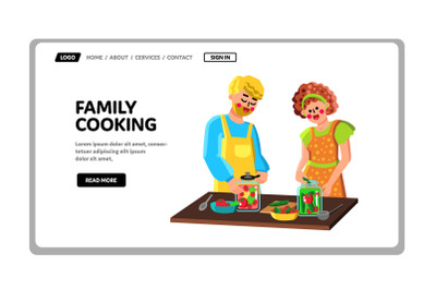 Family Couple Cooking Together On Kitchen Vector