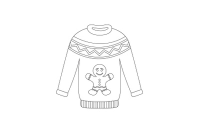 Christmas Sweater Outline Icon Vector