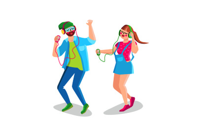 Boy And Girl Listening Music And Dancing Vector