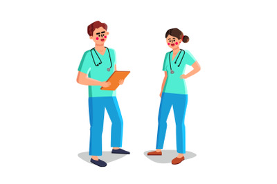 Nurse Man And Woman Medical Workers Talking Vector