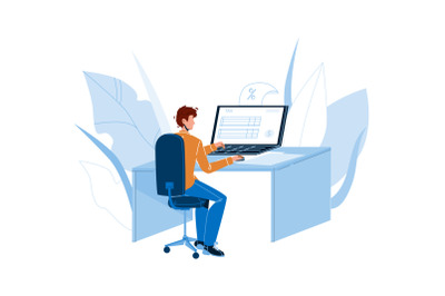 Man Filling Online Tax Form On Computer Vector
