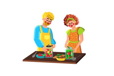 Couple Preserving Vegetables In Bottles Vector