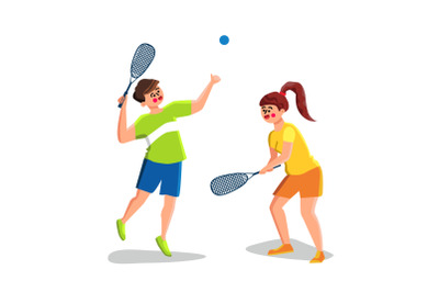 Squash Game Playing Young Man And Woman Vector