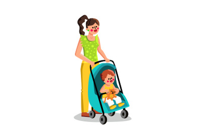 Woman Carrying Small Child In Stroller Baby Vector