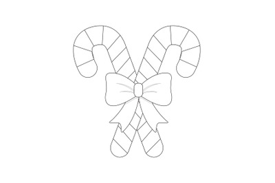 Christmas Candy Stick Outline Icon Vector