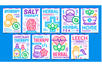 Traditional Naturopathy Promo Posters Set Vector
