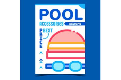 Pool Accessories Shop Creative Promo Poster Vector
