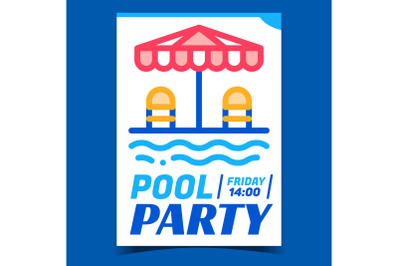 Pool Party Creative Promotional Banner Vector
