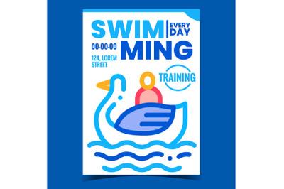 Swimming Waterpool Creative Promo Poster Vector