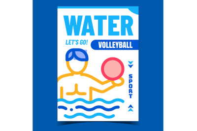Water Volleyball Creative Promo Banner Vector