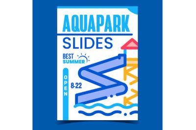 Aquapark Slides Creative Promotional Poster Vector