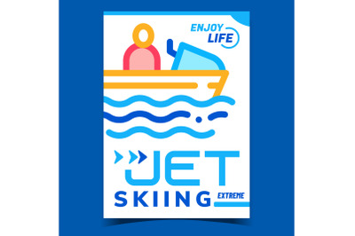 Jet Skiing Creative Promotional Banner Vector