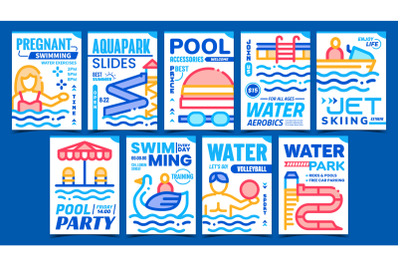 Water Park Creative Promotional Posters Set Vector
