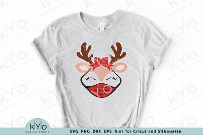 Christmas Reindeer with Mask and Bow Svg
