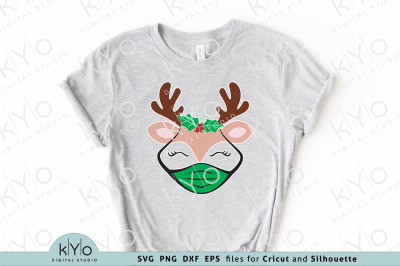 Christmas Reindeer with Mask and Holly Svg