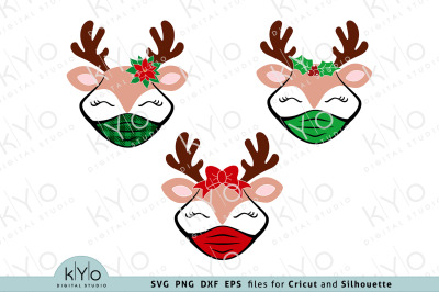 Christmas Reindeer with Face Mask svg