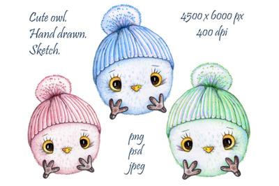 Cute doodle balls owls. Hand drawn art.