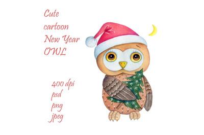 Cute cartoon New Year Owl.