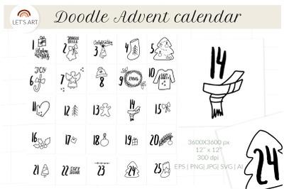 Doodle Advent calendar svg. Christmas doodle symbols
