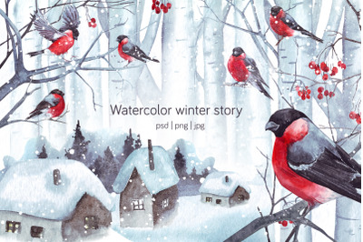Watercolor winter story