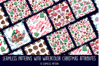 Seamless patterns with watercolor Christmas elements