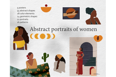 Abstract woman portraits clipart-modern forms-printed terracotta illus