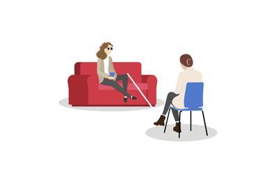 Psychological assistance for disabled people. Blind girl at psychologi