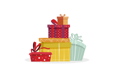 Pile of gift boxes to present at christmas or birthday