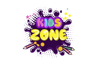 Kids zone inscription in cartoon style. Cartoon colorful card